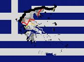 Greece map with flag and graphs on Euros illustration