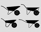 picture of wheelbarrow  - Black silhouettes of  garden  wheelbarrow - JPG