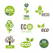 Collection of green icons representing nature and ecological lifestyle.