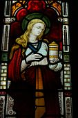 pic of church mary magdalene  - Stained glass window depicting Saint Mary Magdalen with her traditional attribute of a pot of oinment - JPG