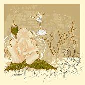 Watercolor Rose And Ballerina