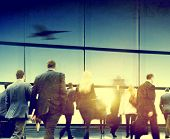 Business People Rushing Walking Airport Travel Concept