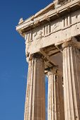 image of parthenon  - Corner of marble Parthenon colonnade and pediment - JPG