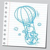 Schoolkid in air balloon