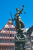 Justitia, Bronze Sculpture In Frankfurt Am Main