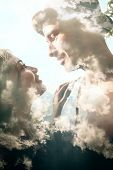 pic of combine  - Double exposure portrait of a couple combined with photograph of clouds - JPG