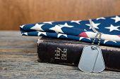 military dog tags on Bible