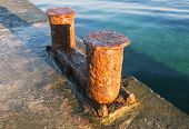 image of bollard  - the very big old Bollard on moorage - JPG