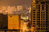 Baku Skyline In The Windy Night