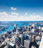 Aerial view of downtown towards Sydney Tower in Sydney , Australia.