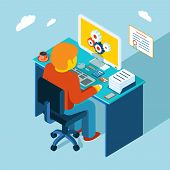 Workplace. Working at computer. Flat 3d isometric design