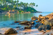 Scenic Seascape. Large Boulders And Tall Palm Trees On The Shore