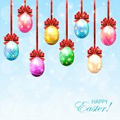Set Of Colorful Easter Eggs With Bow