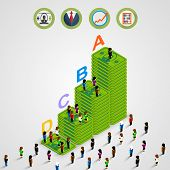 Isometric Pyramid money with people