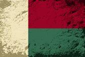 Madagascar flag. Grunge background. Vector illustration