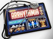 Arrhythmia on the Display of Medical Tablet.