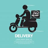 picture of motor vehicles  - Motorcycle Delivery Black Symbol Vector Illustration - JPG