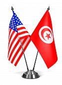 USA and Tunisia - Miniature Flags.