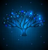 Big Tree Abstract Blue Background