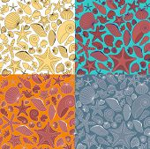 Seamless Pattern Made Of Shells And Starfishes Painted In 4 Different Styles.