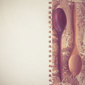 Wooden Spoons On A Wooden Background With Filter Effect Retro Vintage Style