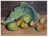 Still Life Of Apples And Cabbage Leaf