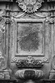 picture of empty tomb  - Aged gravestone frame with a gothic grunge look  - JPG
