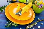Easter Table Setting Yellow Duck