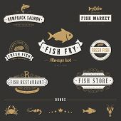 pic of fish  - Fish Seafood Retro Vintage Labels Logo design vector typography lettering templates - JPG