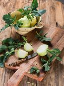 Cabbage Kohlrabi On Wooden Kitchen Board