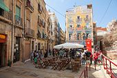 Street View With Walking Tourists, Tarragona, Spain