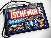 Ischemia on the Display of Medical Tablet.