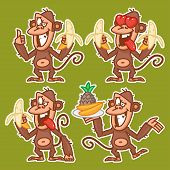 Monkey in various poses stickers