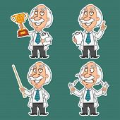 Professor in various poses set stickers 1