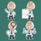 Professor in various poses set stickers 2