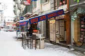 Outdoor Bar in Chamonix town in French Alps, France, 30 January 2015