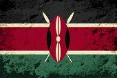 Kenyan flag. Grunge background. Vector illustration
