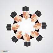 Polygonal hand circle community sign