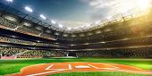 stock photo of traditional  - Professional baseball grand arena in the sunlight - JPG