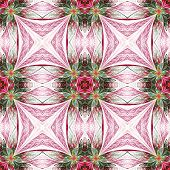 Symmetrical Flower Pattern In Stained-glass Window Style. Green, Yellow And Purple Palette. Computer
