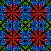 Symmetrical Fractal Pattern In Stained-glass Window Style. Red, Blue And Green Palette. On Black.