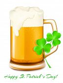 Happy Saint Patrick's Day! Beer mug with beer and  shamrock. Vector illustration