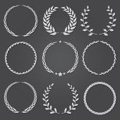 Set Of Nine Vector Laurel Wreaths
