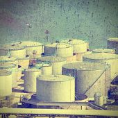 stock photo of silo  - Oil tanks and other silos at Stockholm seaport Sweden - JPG