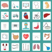 Medical and healthcare icon set.
