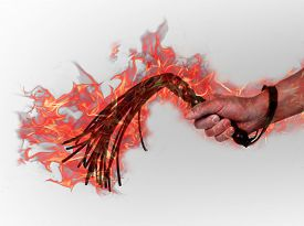 stock photo of flogging  - Black leather flogging whip in the hands of a ghost  - JPG