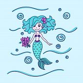 stock photo of mermaid  - Mermaid with flowers in the sea with waves and bubbles - JPG