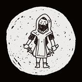 stock photo of ninja  - Ninja Doodle - JPG