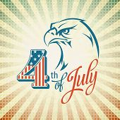 picture of eagles  - Independence Day holiday card with typography and an eagle - JPG