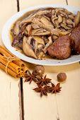 pic of deer meat  - venison deer game filet tenderloin and fresh wild mushrooms - JPG